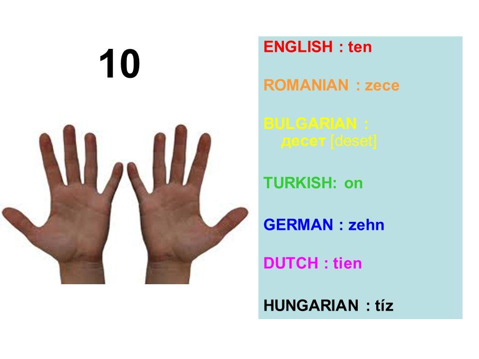 10 ENGLISH : ten ROMANIAN : zece BULGARIAN : десет [deset] TURKISH: on